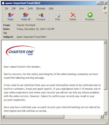 Charter One Bank phishing email