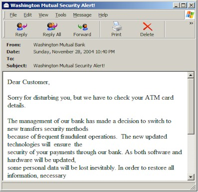 Washington Mutual Bank phishing email